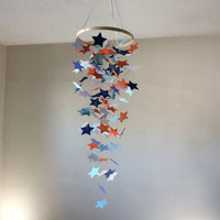 Star Mobile, Red, White, Navy, Grey/Silver Shooting Stars paper mobile. Nursery baby mobile, Baby mobile, Baby Nursery mobile, Crib mobile