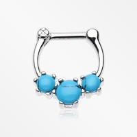 Turquoise Stone Prong Septum Clicker