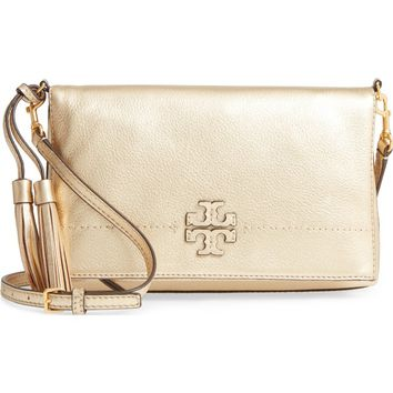 Tory Burch McGraw Metallic Leather Crossbody Bag | Nordstrom