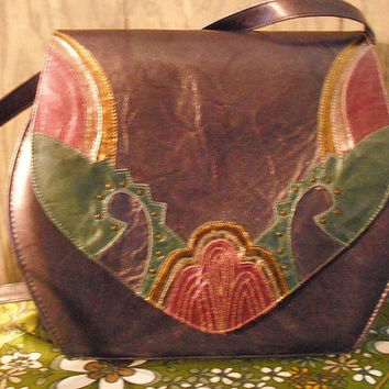 Vintage Margaret Jerrold Jewel tone Art Deco Shoulder Purse Purple purse 1980s