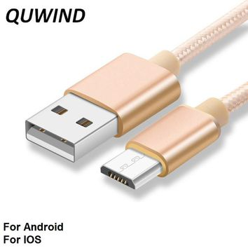 1M 2M 3M Nylon Braided Micro Usb Or 8 Pin Data Charging Cable for iPhone 6 6S 7 8 iPad Samsung HuaWei Andriod Phone