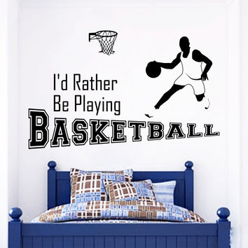 Wall Decal Quotes Sports Game Basketball Ball Design Vinyl Decals Gym Playroom Nursery Living Room Kids Bedroom Home Decor Art Mural 3797