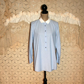 Tunic Shirt Cotton Blouse Light Blue Chambray White Collar Long Sleeve Casual Shirt Long Tops Hipster Clothing J Crew Medium Womens Clothing