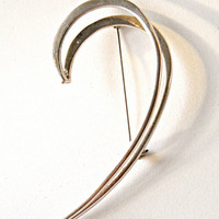 Modernist Double Swirl Sterling Brooch, Taxco Mexico 3.5 inches, Vintage