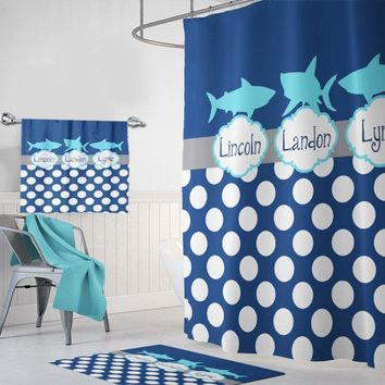 Shark SHOWER CURTAIN, Shark Shared Brothers Boy Custom Personalized Shark Bathroom Decor, Shark Bathroom Towel Rug Mat, Kid Bathroom Set