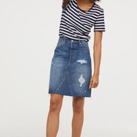 Knee-length Denim Skirt - Denim blue - Ladies | H&M US