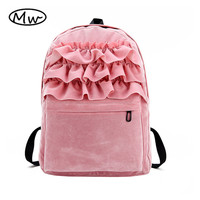 Candy Color Lolita Flouncing Lace Backpack Students Solid Velvet Backpack Book Bag School Bags For Teenager Girls Travel Bag