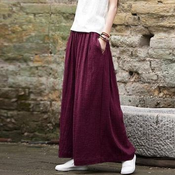 Autunm Harem Pant Hemp Bloomer Plus Size M-5XL 6XL Loose Women Trouser cotton Linen Pleated Oversize Sashes Wide Leg Pant