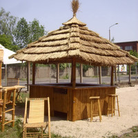 Tiki Bar 360 Degree - Tropical Kiosk w/ 8 Bar Stools & Thatch Roof