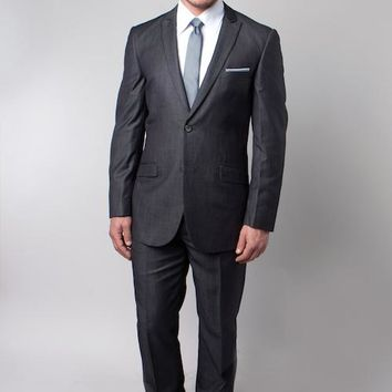 Grey Shiny Sharkskin Slim Fit Two Button Suit