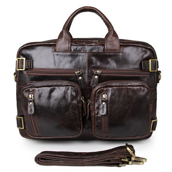 Chocolate Genuine Vintage Leather Men's Backpack Briefcase Leather Bag Manufacturer