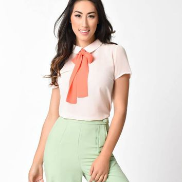 Vintage Style Blush & Coral Tie Short Sleeve Sheer Blouse
