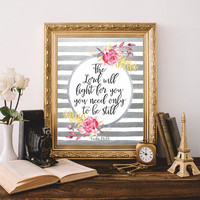 Bible verses art Bible quote Printable The Lord will fight for you Exodus 14:14 Scripture Print Watercolor flowers Silver 8x10 Digital file