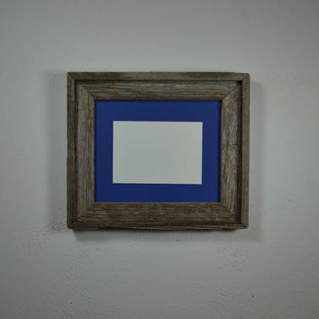 Picture frame 8x10 reclaimed wood with 5x7 blue mat