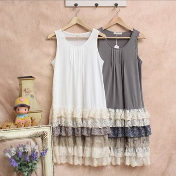 Harajuku Mori Gir Style Multi-Layer Lace Layered Lolita Tank Dress Forest Girl Loose Casual Sleeveless Knee Length Dresses 16616