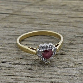 Estate 14K Gold Heart Ruby Ring w/ Diamonds Handmade Fine Gold Jewelry Size 6