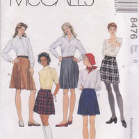 Pattern for pleated skirts with pleat front variations in knee and mini length misses size 6 McCall's 8476 UNCUT