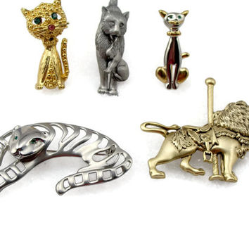 Cat Brooch Lot, Vintage Jewelry, Lion Tiger, Pin Lot, Vintage Brooch, Cat Kitten, Cat Pin, Gold Tone Brooch, Silver Tone Brooch, Brooch Pin
