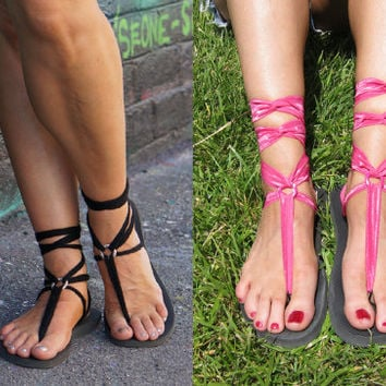 Flat Lace Up Gladiator Sandals with TWO pair of Interchangeable Laces. Hot Pink and Black.
