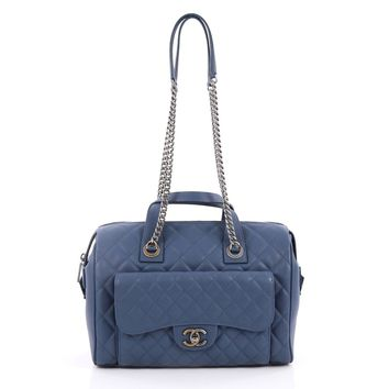 Chanel Pre-Owned: Two-Tone Front Pocket Bowling Bag Quilted Caviar Medium | Bluefly.Com