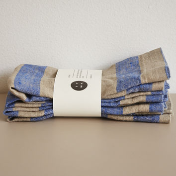 Oat and Indigo Stripe Napkin Set