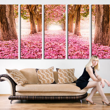 Art Print - Almond Blossoms Canvas Art Print, Cherry Blossoms Canvas Print, Wall Art Cherry Trees Canvas Print 5 Panel, Wall Art Almond Tree