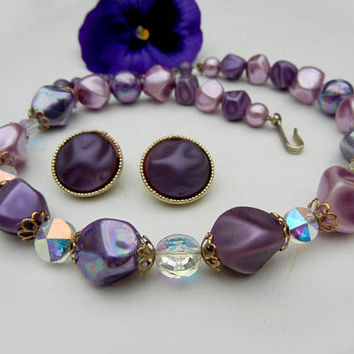 Coro Necklace and Coro Clip-On Earrings in Lavender, Purple, Aurora Borealis (1950s 1960s) Vintage Costume Jewelry Set