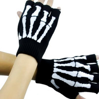 Skeleton Gloves Fingerless Goth Deathrock