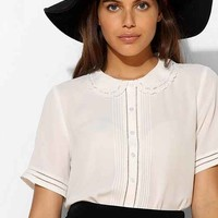 Coincidence & Chance Eyelet Peter Pan Collar Blouse- Cream