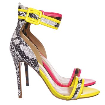 Dashing19 Neon Pipping High Heels - Women 2 Piece Open Toe Sandal w Ankle Strap