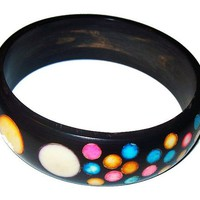 Polka Dot Bangle Bracelet Enamel Painted Resin Rainbow Colors Vintage