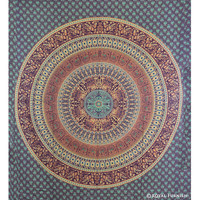 Queen Multicolor Parrot & Elephant Mandala Hippie Hippy Tapestry Wall Hanging Bedspread