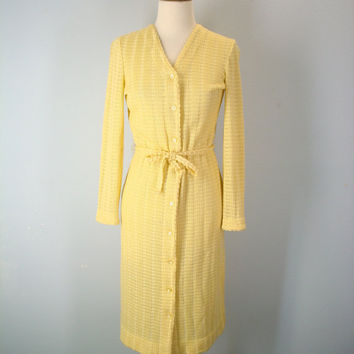 Vintage 60s Buttercup Knit Dress, Lightweight Sweater Dress, 1960s Dress, 60s Dresses, Vintage Dresses, Yellow Dress, Size Small