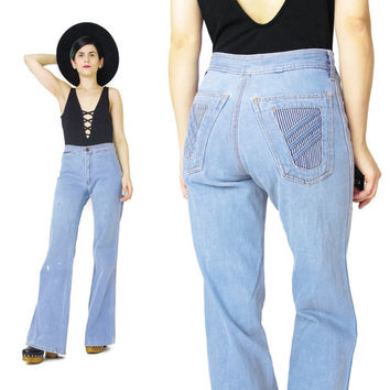 1970s Flared Jeans Worn In Light Wash Denim Womens Vintage 70s Jeans Boot Cut Jeans High Waist Railroad Striped Jeans Back Pockets (S/M)