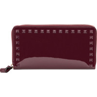 Valentino Rockstud Burgundy Patent Leather Zip-around Wallet