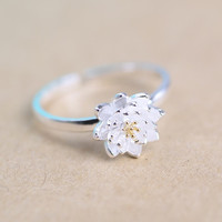 Romantic Lotus Flower Plant Silver Sterling Silver Adjustable Ring Jewelry Accessory for Women Girls Bride Wedding Party