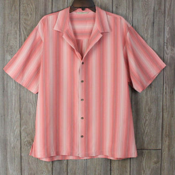 Tommy Bahama Silk Shirt Mens M size Pink Stripe Casual Career Lightweight
