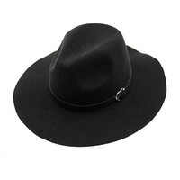 Black Belt Band Felt Fedora Hat