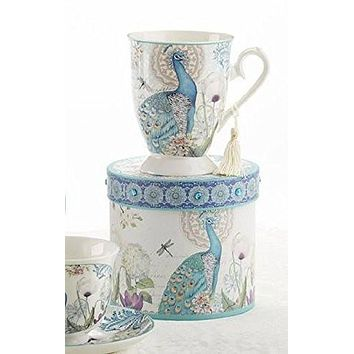 Delton Products Peacock Porcelain Tea and Coffee Mug in Gift Box