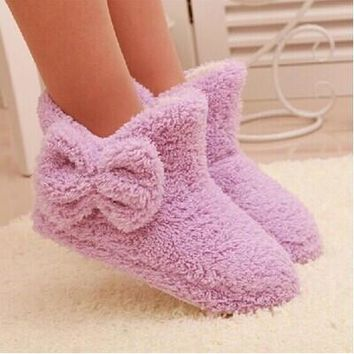 New Autumn And Winter Warm Cotton-padded Shoes Cute Bow Iindoor Boots Soft-soled Slipp