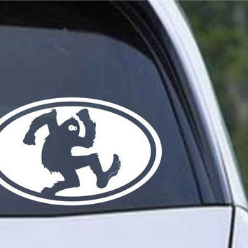 Bigfoot Sasquatch Euro Oval Die Cut Vinyl Decal Sticker