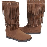 Tall Fringe Wedge Boots