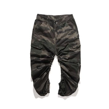 2018 hip hop Fashion 90s new top kanye west Oversize Camouflage overalls Casual Bent ankle trousers men Army green pants M-4XL