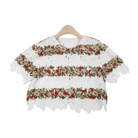 Floral Striped Lace T-Shirt