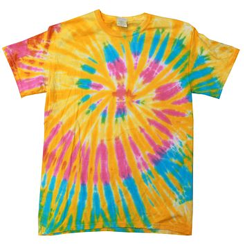 Tie Dye Shirt Multi Color Spiral Yellow Blue Pink Aurora T-Shirt