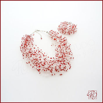 Floating Illusion Necklace and Bracelet - Multistrand Bead Crochet Necklace Red White. Beadwork Necklace. Beaded Bracelet. Wedding Necklace.