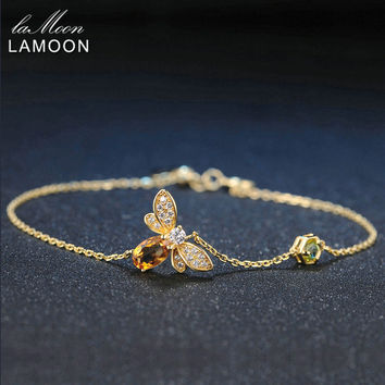 LAMOON Fine Bee Peridot 5X7mm 100% Natural Oval Citrine 925 Sterling Silver Jewelry Rose Gold Plated Chain Charm Bracelet
