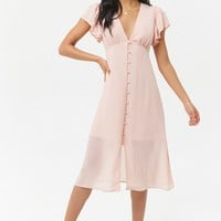 Chiffon Butterfly Sleeve Midi Dress