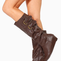 Brown Faux Leather Double Buckle Wedge Boots