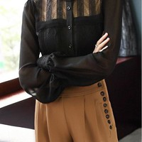 Long Sleeve Chiffon and Lace Blouse